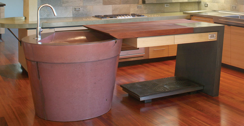 Concrete Kitchen Island by Fu-Tung Cheng | Concrete Exchange
