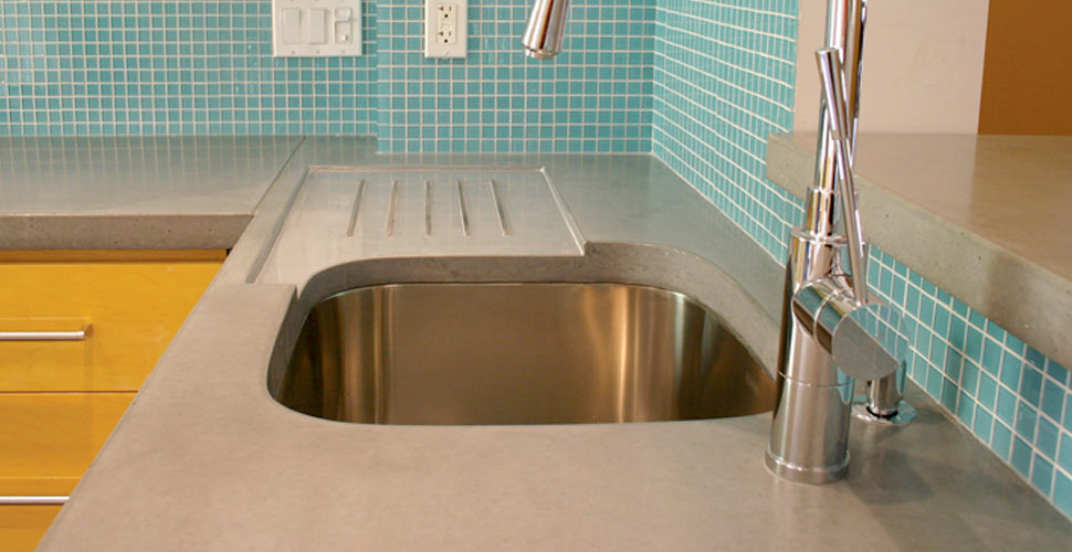 Concrete Countertop with integral drainboard | Concrete Exchange