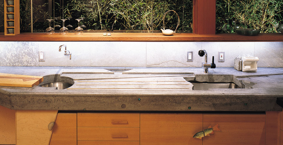 Concrete countertop with integral drainboard by Fu-Tung Cheng, Cheng Design | Concrete Exchange