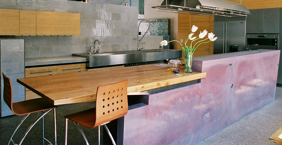 Concrete Kitchen Island and Wall | Concrete Exchange
