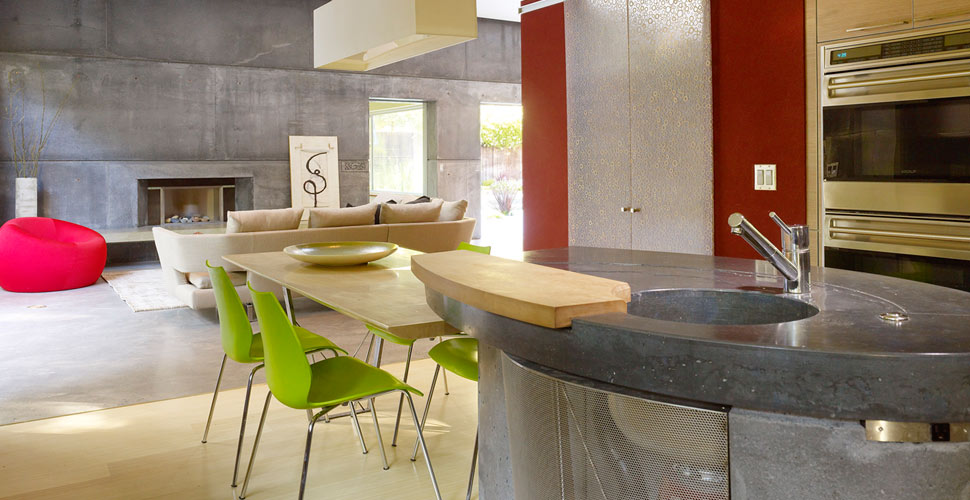 Concrete kitchen island and concrete countertops, House 6 by Fu-Tung Cheng, Cheng Design | Concrete Exchange