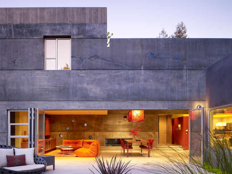 Exterior View of House 6 in Menlo Park, CA at Dusk - Project by Fu-Tung Cheng | Concrete Exchange