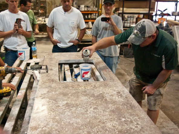 Sealing Step 1.1 - Pressed Concrete Countertops | CHENG Concrete Exchange