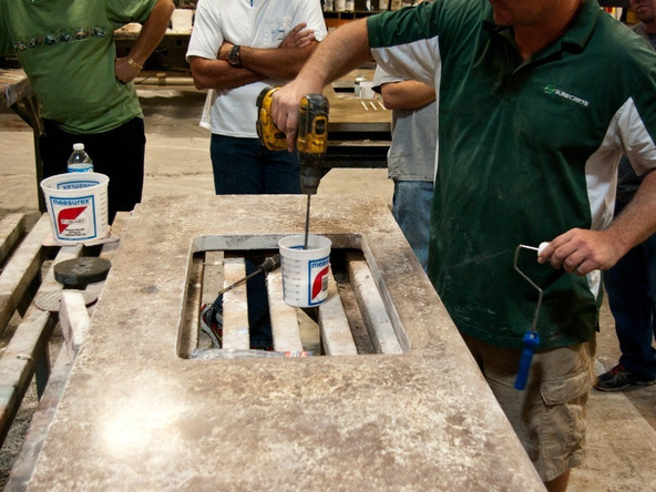 Sealing Step 1.2 - Pressed Concrete Countertops | CHENG Concrete Exchange