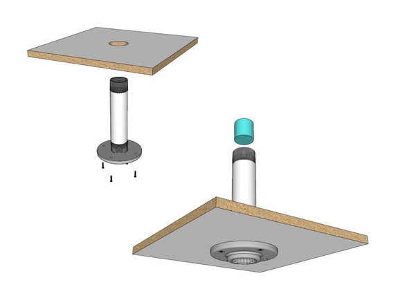 Step 4.2, Fix Lampshade to Base - Umbrella Base | CHENG Concrete Exchange