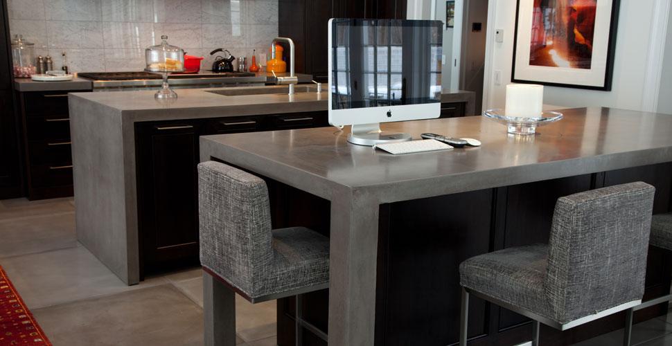 JM Lifestyles Modern Farmhouse Concrete Kitchen Island