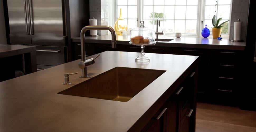 JM Lifestyles Modern Farmhouse Concrete Integrated Sink