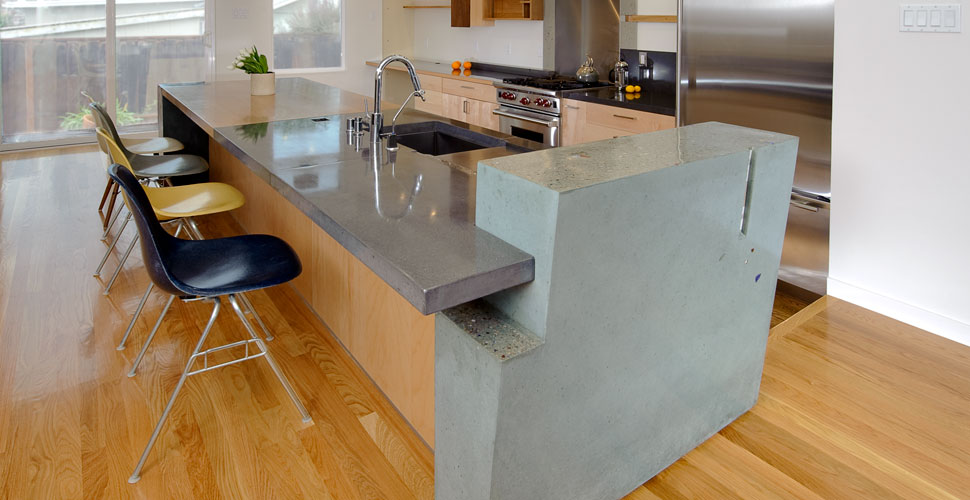 Modern Concrete Countertop and Wall