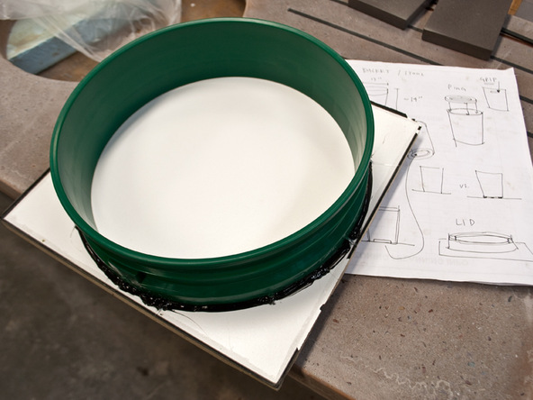 Step 4.2, Attach the Lid Form to a Baseboard - 5-Gallon Bucket Storage Stool D-FRC | CHENG Concrete Exchange