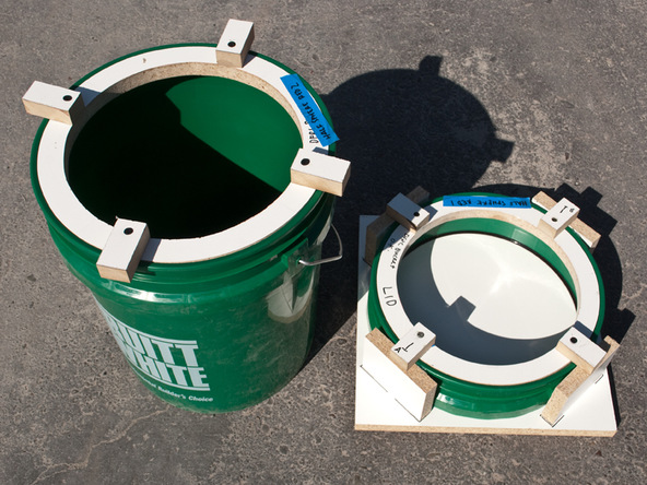 Step 6, Forms Ready to Cast - 5-Gallon Bucket Storage Stool D-FRC | CHENG Concrete Exchange