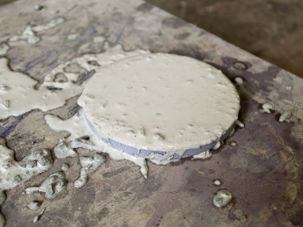 Step 3.1, Cast and Vibrate Concrete - Concrete Coasters | CHENG Concrete Exchange