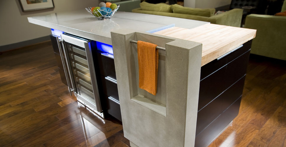 Reaching Quiet Designs Concrete Kitchen Island with Under-the-Counter Lighting
