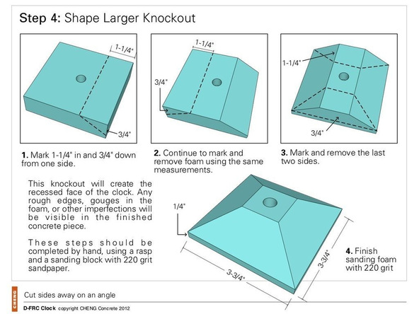 Step 4, Shape the Face Knockout - Clock | CHENG Concrete Exchange