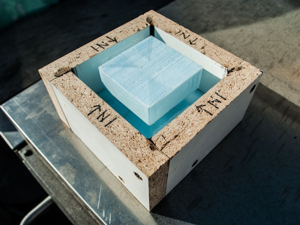 Step 7.2, Glue the Knockout in the Box - Clock | CHENG Concrete Exchange