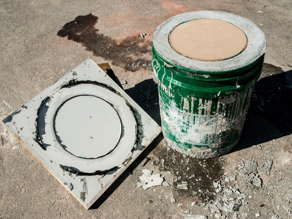 Step 10.3, Demold the Base - 5-Gallon Bucket Storage Stool Pro-Formula | CHENG Concrete Exchange