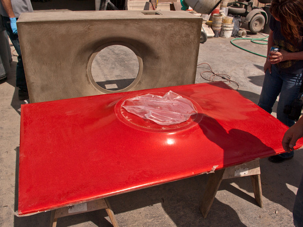 Demolding Step 2.2 - Fabric Formed Concrete Fire Table | CHENG Concrete Exchange