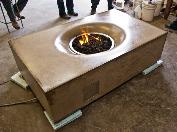 Fabric Formed Concrete Fire Table - Finished Fire Table