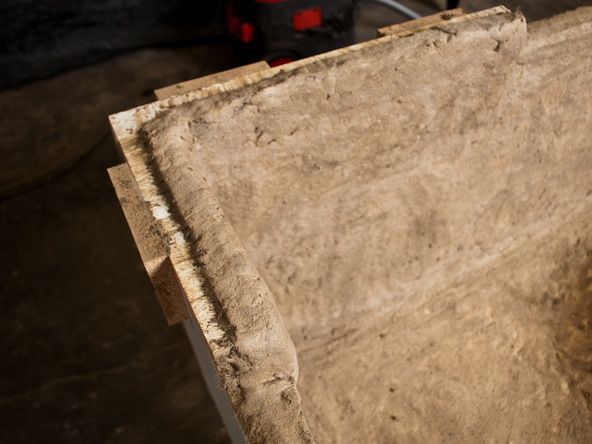 Spraying and Backing Step 4.2 - Fabric Formed Concrete Fire Table | CHENG Concrete Exchange