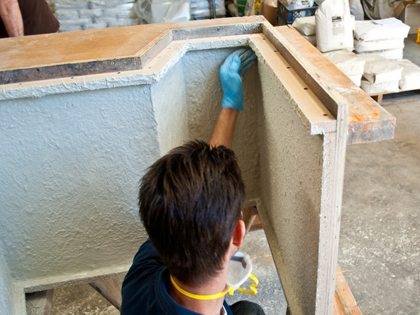 Spraying and Casting Step 2.1 - Greenbrae Chair | CHENG Concrete Exchange
