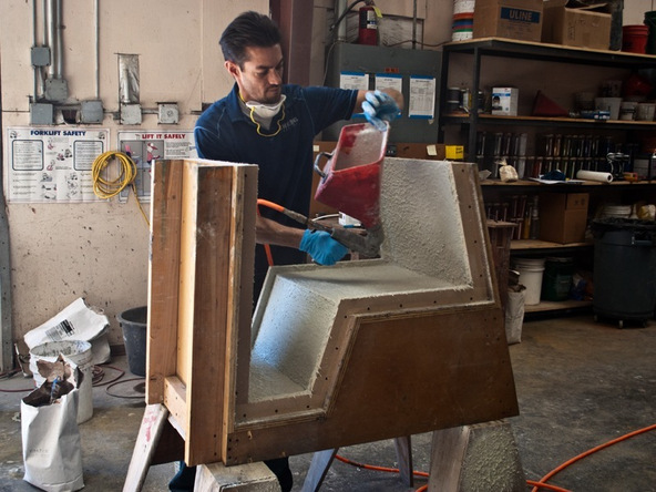 Spraying and Casting Step 4.1 - Greenbrae Chair | CHENG Concrete Exchange