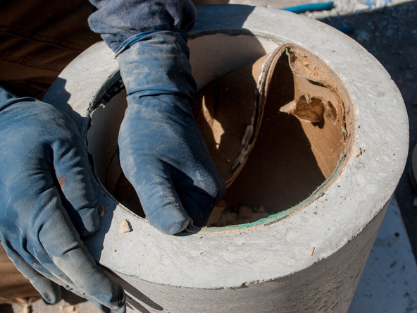 Step 12.3, Remove the Disc and Knockout - 5-Gallon Bucket Storage Stool Pro-Formula | CHENG Concrete Exchange