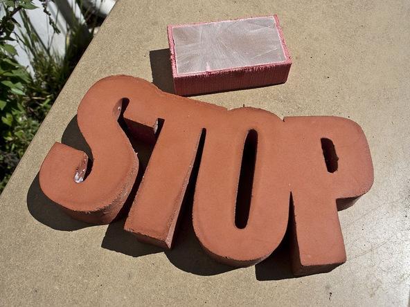 Step 7.1, Sand Rough Edges - Door Stop | CHENG Concrete Exchange