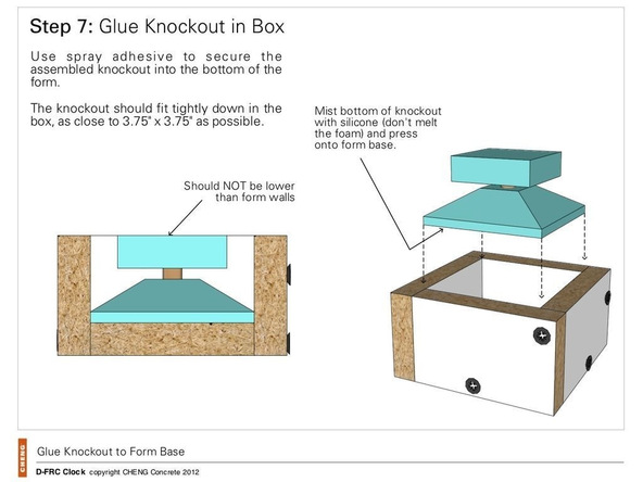 Step 7.1, Glue the Knockout in the Box - Clock | CHENG Concrete Exchange