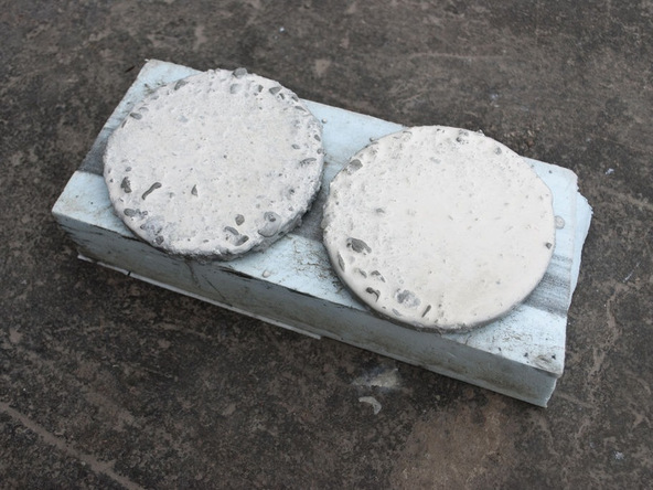Step 3.2, Cast and Vibrate Concrete - Concrete Coasters | CHENG Concrete Exchange