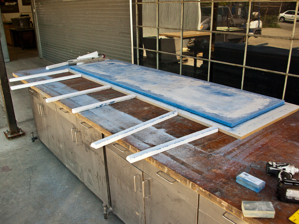 Grinding and Demolding Step 3.2 - Recycled Glass Countertops | CHENG Concrete Exchange