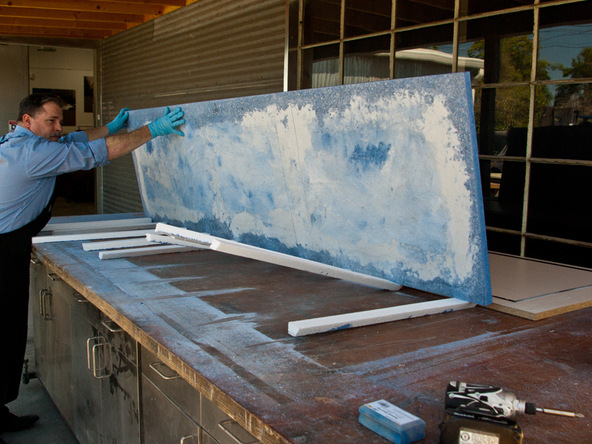 Grinding and Demolding Step 4.1 - Recycled Glass Countertops | CHENG Concrete Exchange