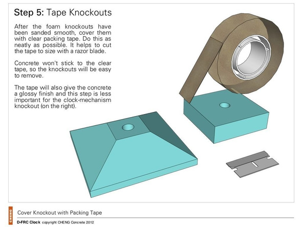 Step 5, Tape the Knockouts - Clock | CHENG Concrete Exchange