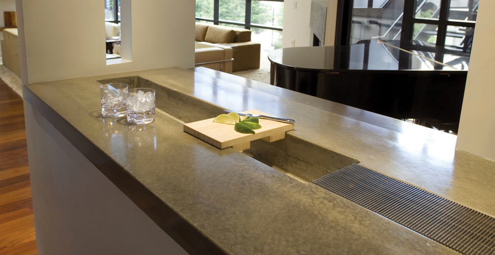 Concrete Bar Top With Integral Ice Bucket Cheng Concrete