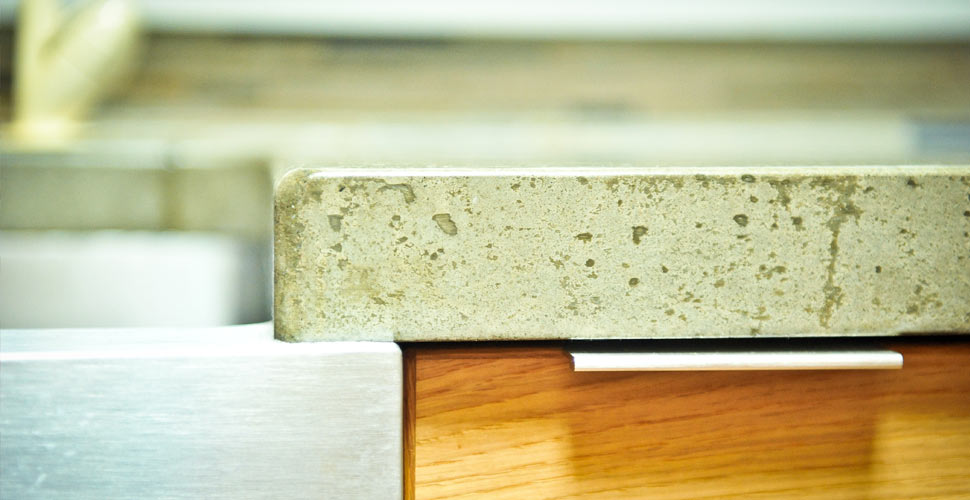 Detail of Edge for Concrete Countertop by Yves St. Hilaire | CHENG Concrete Exchange
