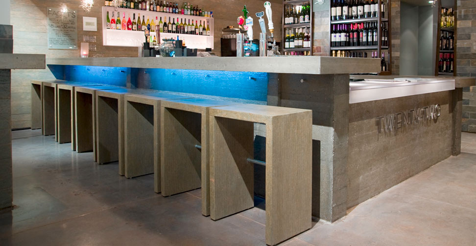Art Gallery And Wine Cave Concrete Bar Countertop