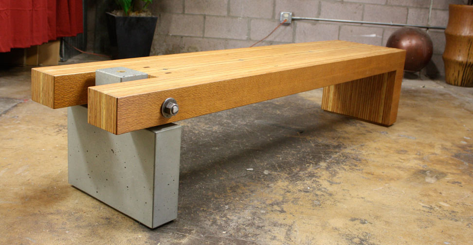 Concrete bench by architectural concrete interiors concrete exchange Concrete and wood furniture