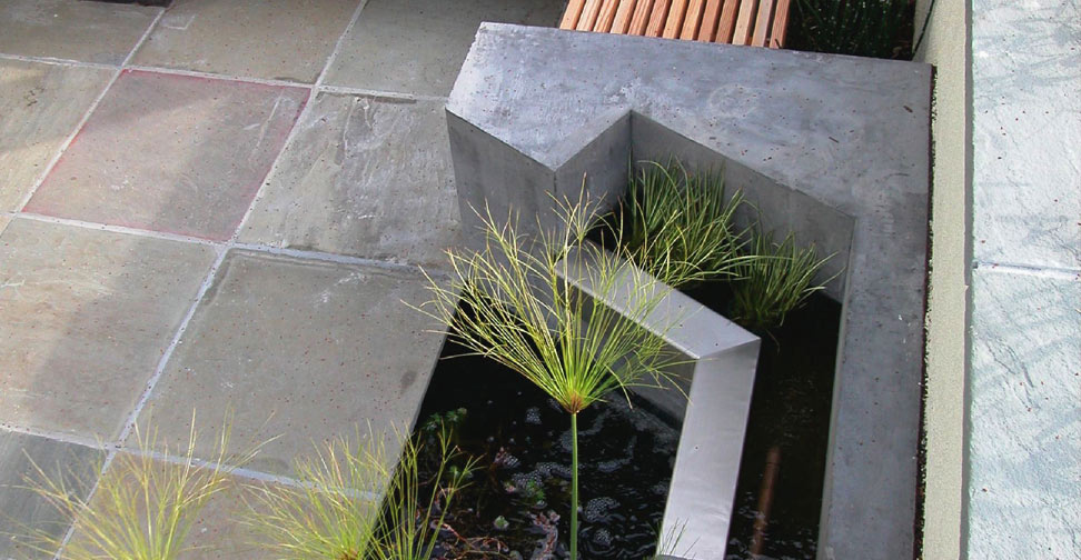 Concrete Bench and Water Feature