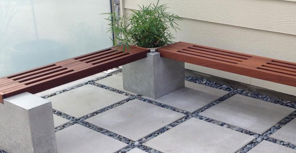 Concrete and Wood Planter and Bench by Thomas Roa | Concrete Exchange