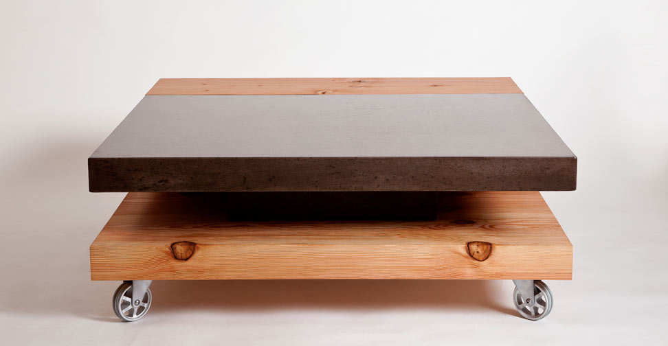 Concrete And Wood Coffee Table By Yves St. Hilaire | Concrete Exchange ...