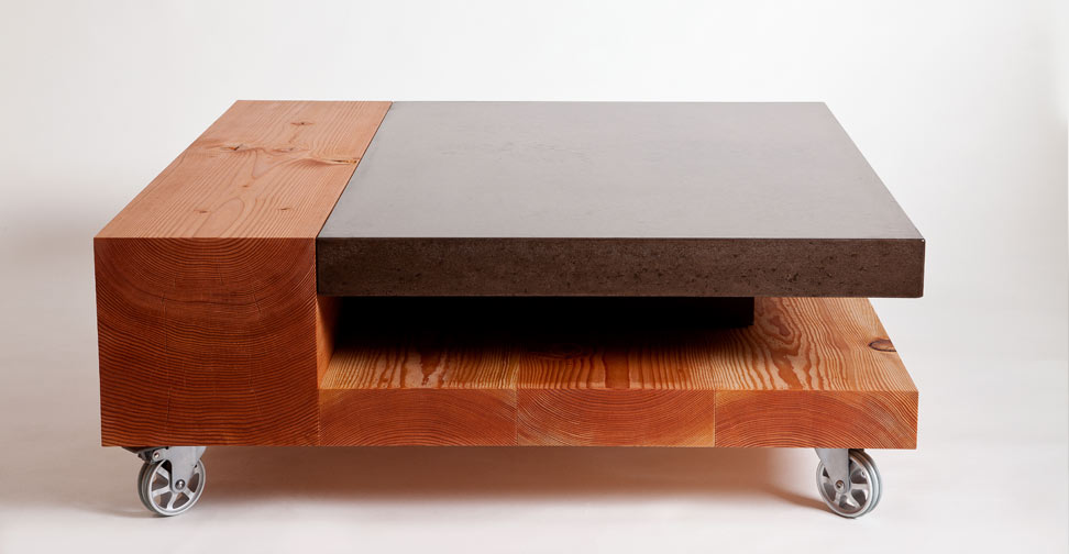 Concrete and Wood Coffee Table by Yves St. Hilaire | Concrete Exchange