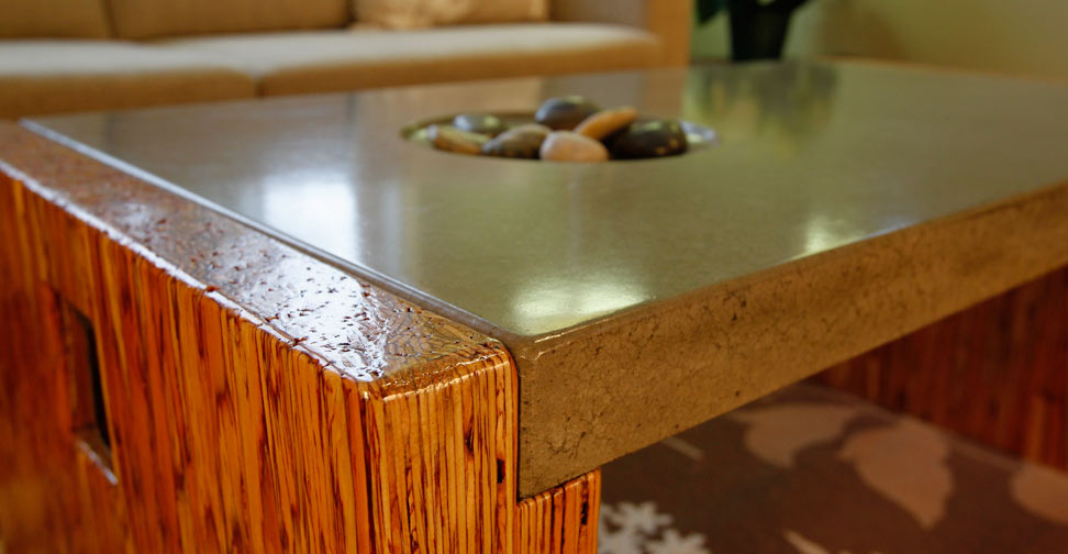 Concrete Coffee Table Top with Wood and Steel Frame by Yves St, Hilaire | Concrete Exchange
