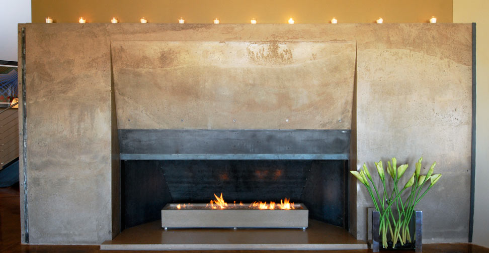 Concrete Fireplace Surround, Hearth and Fire Box by Cody Carpenter | Concrete Exchange