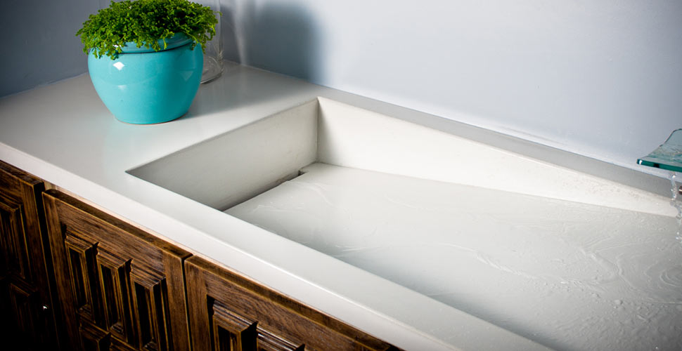 White Glass Fiber Reinforced Concrete Ramp Sink by Brian Sieffert | Concrete Exchange