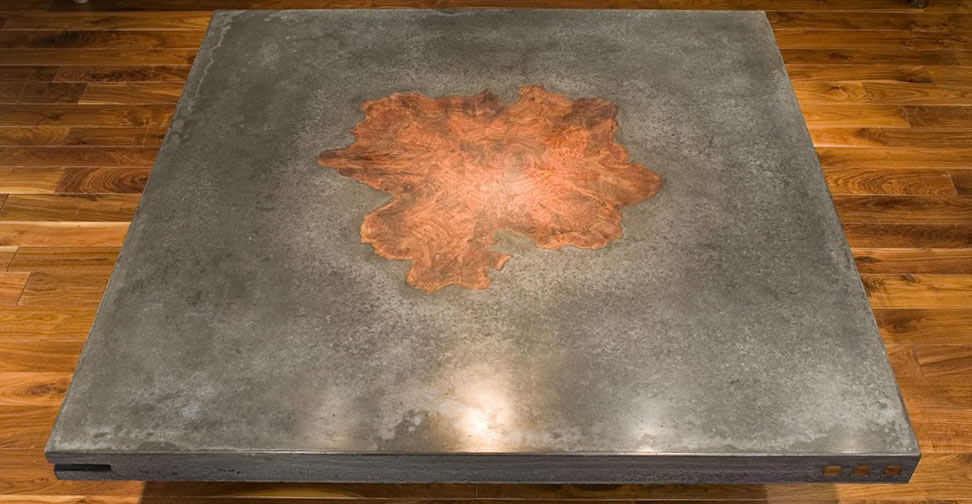 Concrete Table with Large Wood Inlay by Keelin Kennedy