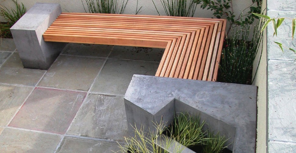 Concrete and wood bench with water feature | CHENG Concrete Exchange