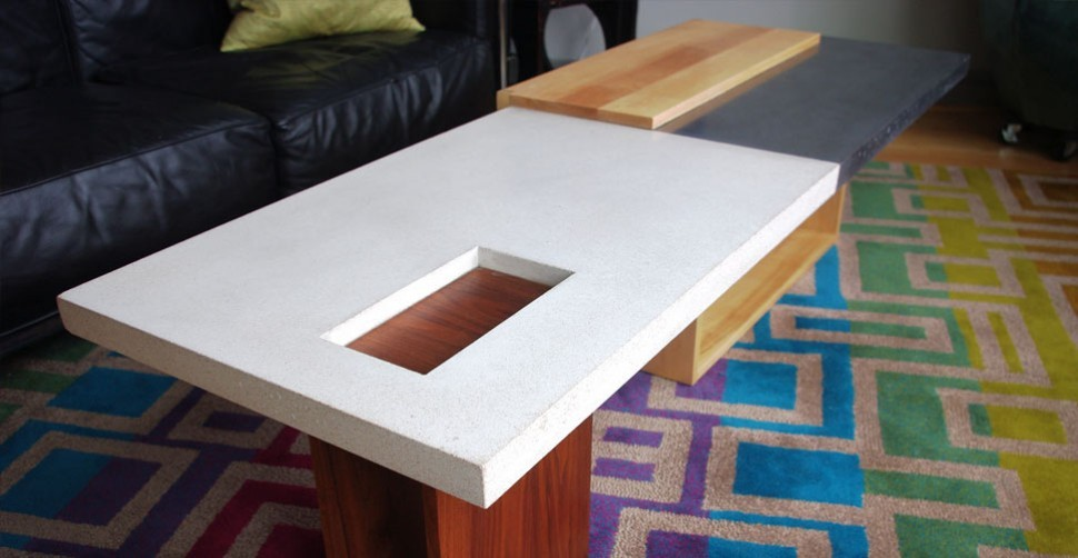Concrete and wood coffee table by Newbold Stone, John Newbold | CHENG Concrete Exchange