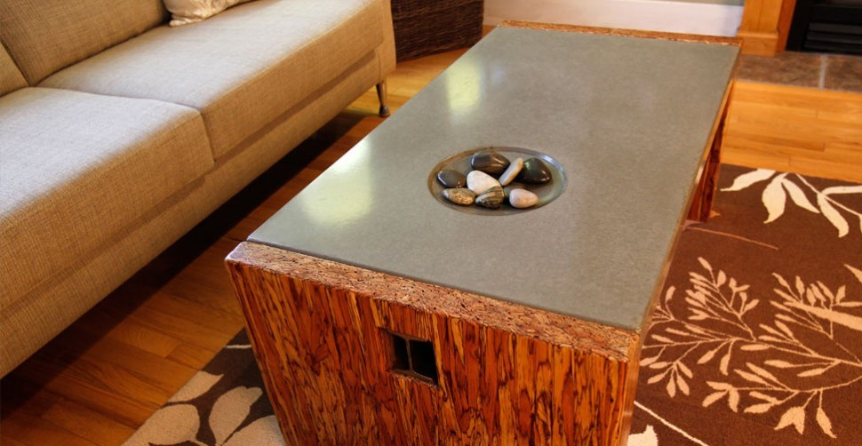 Wood and concrete coffee table by Sticks + Stones, Yves St. Hilaire | CHENG Concrete Exchange