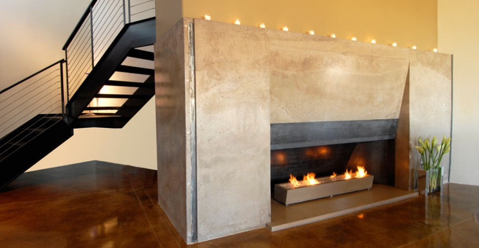 Concrete fireplace surround by Cody Carpenter | CHENG Concrete Exchange