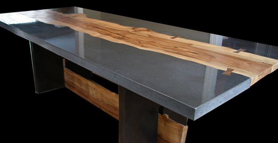 concrete and wood table by keelin kennedy concrete exchange. Black Bedroom Furniture Sets. Home Design Ideas