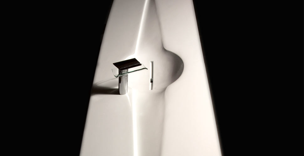 White Glass Fiber Reinforced Concrete Sink by Caio Paagman | Concrete Exchange