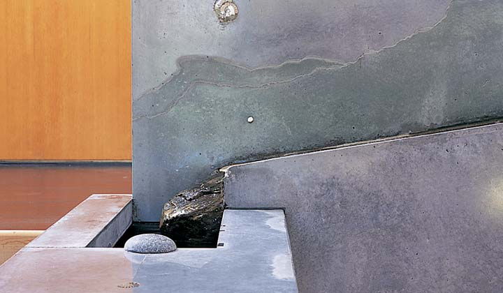 Torn paper concrete effect on concrete water feature designed by Fu-Tung Cheng | CHENG Concrete Exchange